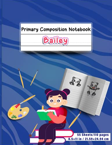 Bailey's Primary Composition Book: Dotted Midline and...