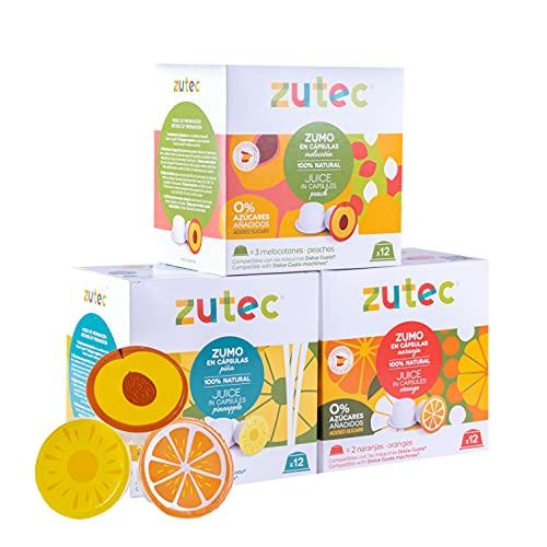 Zutec - Cápsulas de Zumo Surtido (Naranja, Piña y...