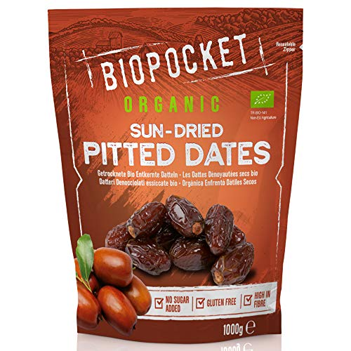 Biopocket - Dátiles ecológicos secos sin hueso, 1 kg