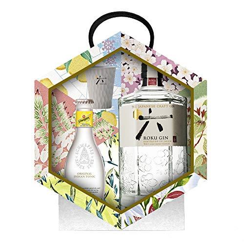 Roku Gin Ginebra Artesanal Japonesa + Tónica y Vaso, 43% -...
